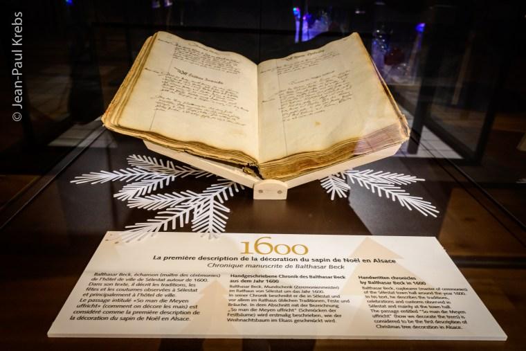Descriptif sur la façon de décorer les sapins de Noël (Sélestat, 1600)