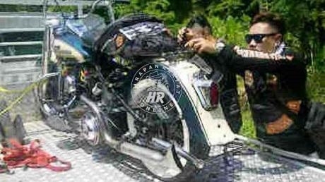 Insiden-Maut-di-Tikungan-Ciamis-Harley-Davidson-Tubruk-Jupiter-MX