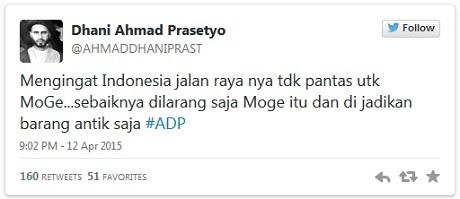 twitter Ahmad dhani menolak Moge