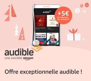 Bon plan : 1 livre audio gratuit + 5€ en bon d'achat Amazon