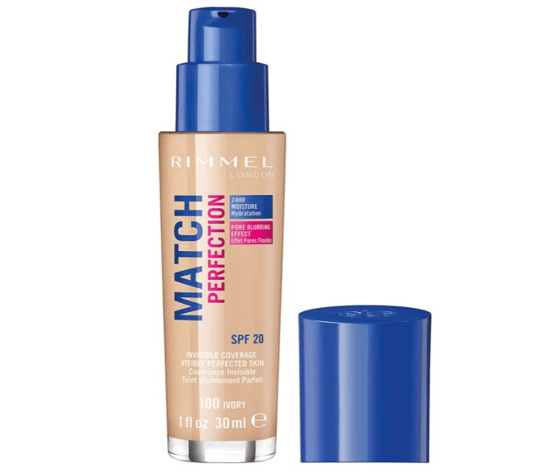 Rimmel - Fond de Teint Match Perfection - Couvrance légère - Hydratation 24h - 100 Ivory - 30ml