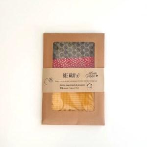 Bee Wrap Emballage réutilisable – pack 3 tailles – 3 coloris