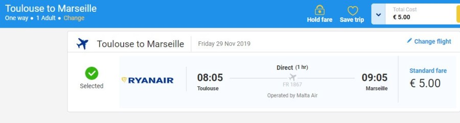 Screenshot ticket Toulouse - Marseille