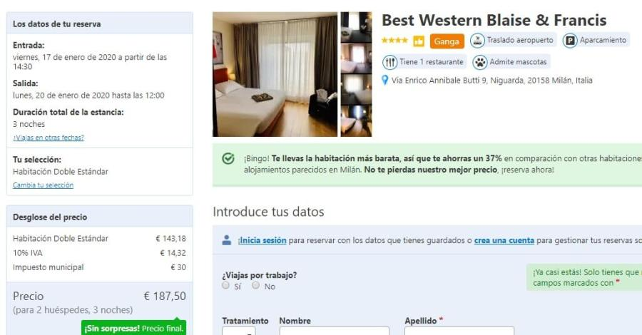 Screenshot hotel milan price