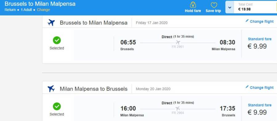 Screenshot brussels milan ticket