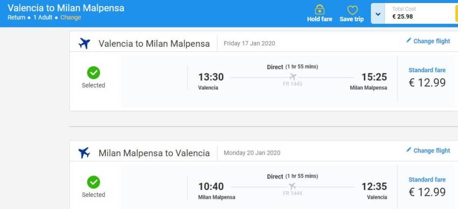 Screenshot valencia milan ticket