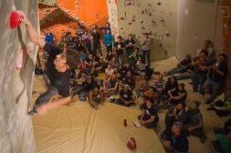 Sebas with the hand in the last hold of problem #5