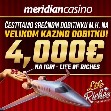 Meridianov kazino kešira — 4.000€ na igrici Life of Riches