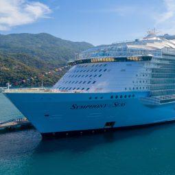 white cruise ship docked beside port
