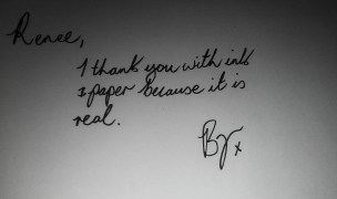 @RVimmerstedt I thank you with ink & paper because it is real x
