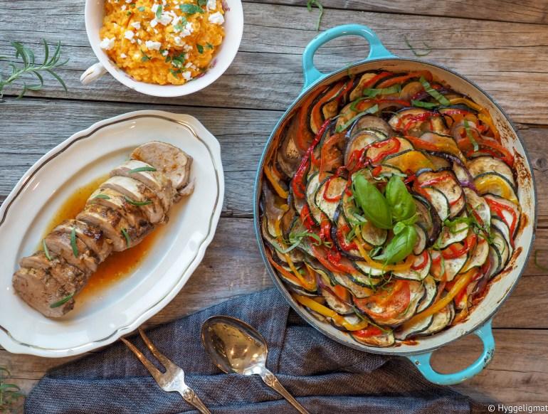 helstekt indrefilet av svin, ratatouille og søtpotetmos med feta