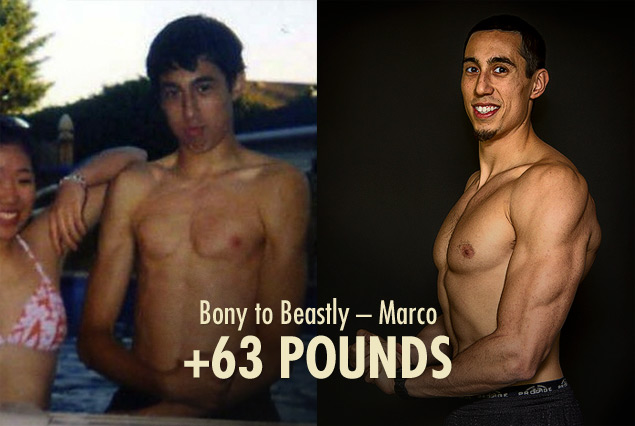 Before and after results photo of a skinny man building muscle.