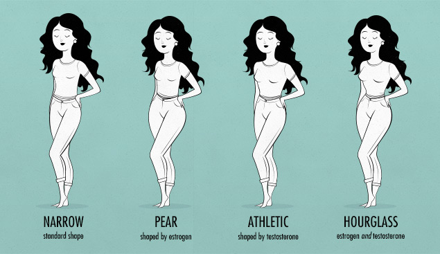 female body shapes & bone structure—skinny banana, pear, hourglass, athletic