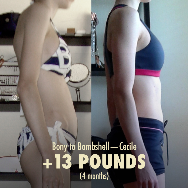 What a few months of bulking looks like on a naturally skinny woman