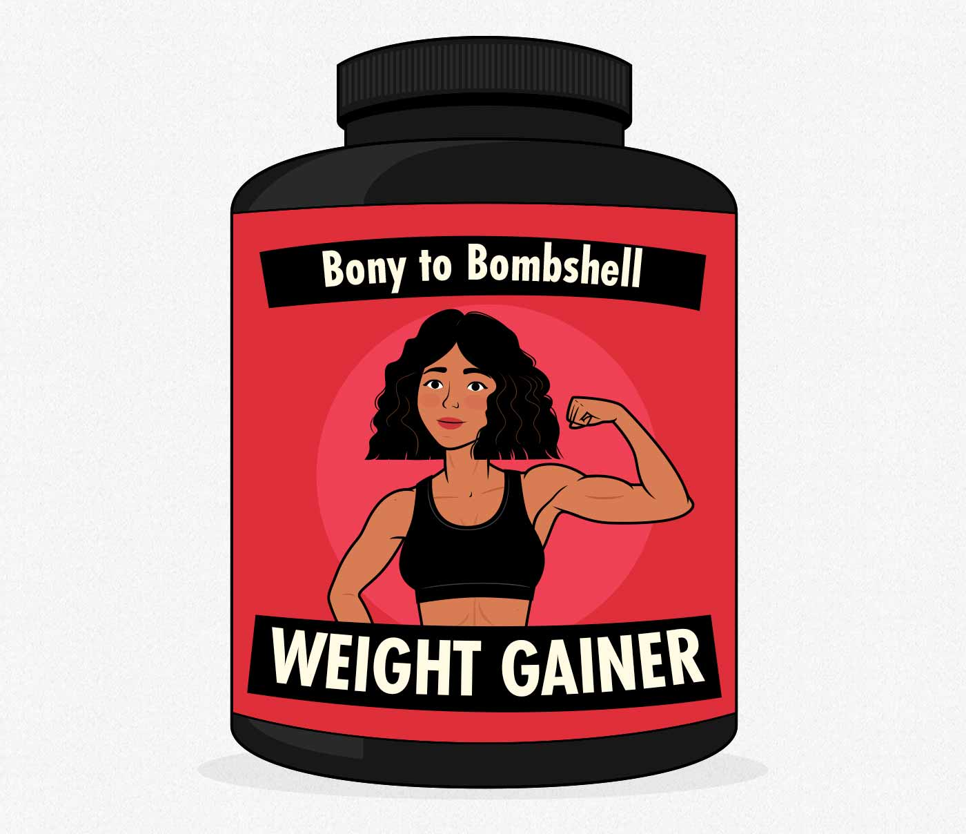 Illustration of a weight gainer supplement for women.