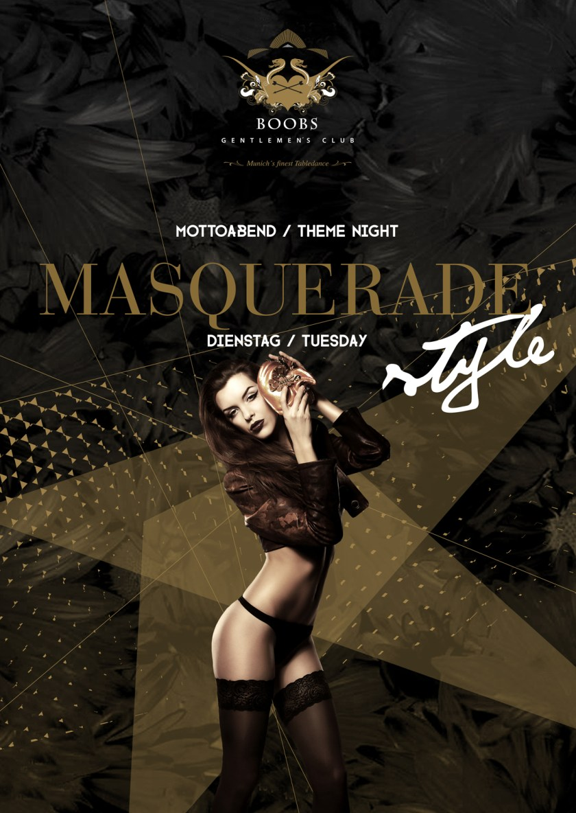 Masquerade Mottoabend / Theme Night jeden Dienstag im BOOBS Gentlemen's Club - Munich's finest Tabledance Club