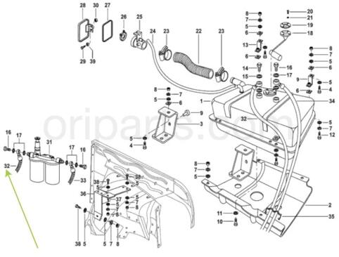 FUEL LINE TANK TO FILTER: MAHINDRA 1001CA2460N