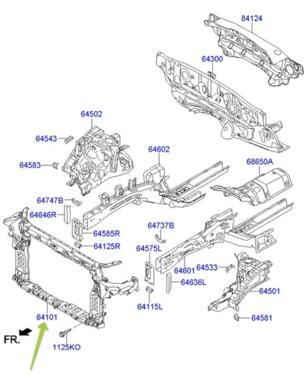 CARRIER ASSY-FRONT END MODULE: Hyundai / Kia 641012W000