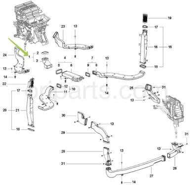 ASSY B-PILLAR DUCT IP HVAC END: MAHINDRA 0105ZW0030N