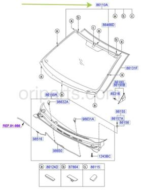 GLASS ASSY-WINDSHIELD: Hyundai / Kia 861101V900