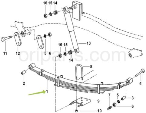 LEAF SPRING ASSEMBLY FRONT: MAHINDRA 0401AA0540N