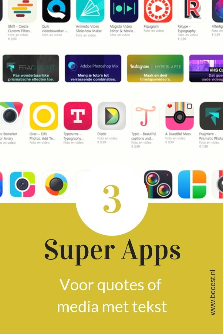 3 super apps voor quotes of afbeeldingen met tekst. #apps #quotes #design #afbeelding #marketing
