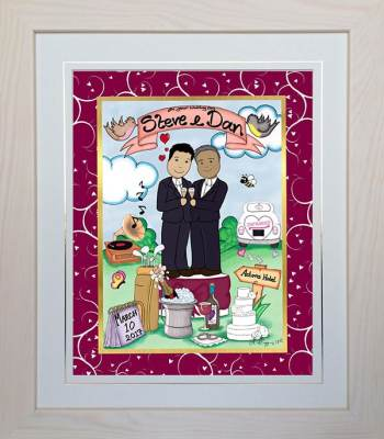 Personalised Gay Wedding Gift – Mr & Mr Framed Toon