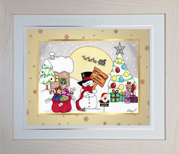 Boogiecat Christmas framed toon cream frame