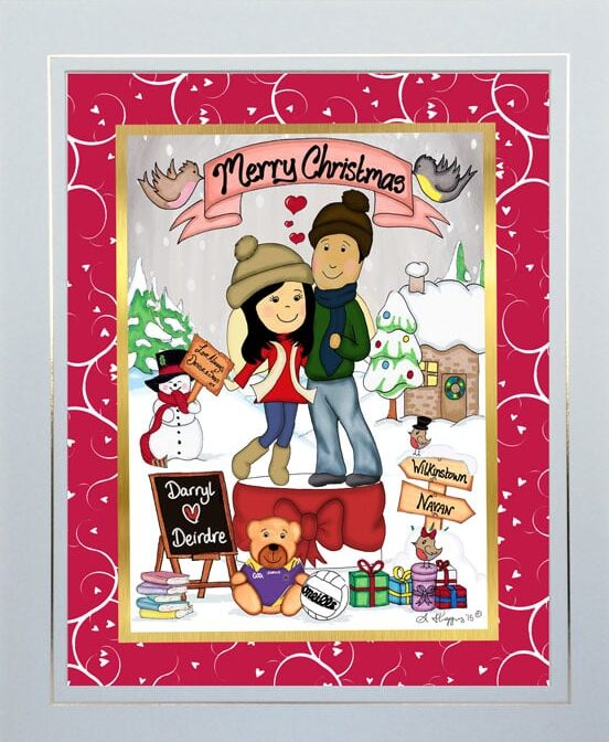 Christmas personalised framed couple toon creatoon cream