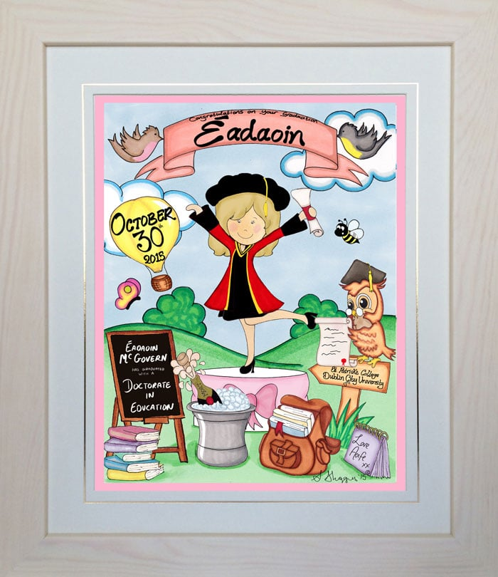 Personalised Graduation Gift Framed Toon
