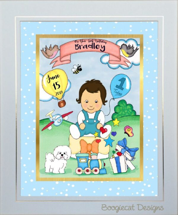 baby boy birthday toon portrait