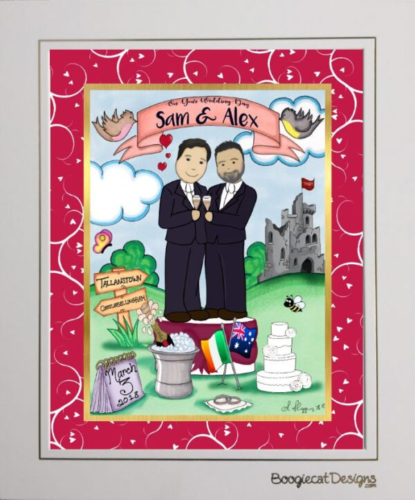 Personalised gay wedding couple toon wedding gift