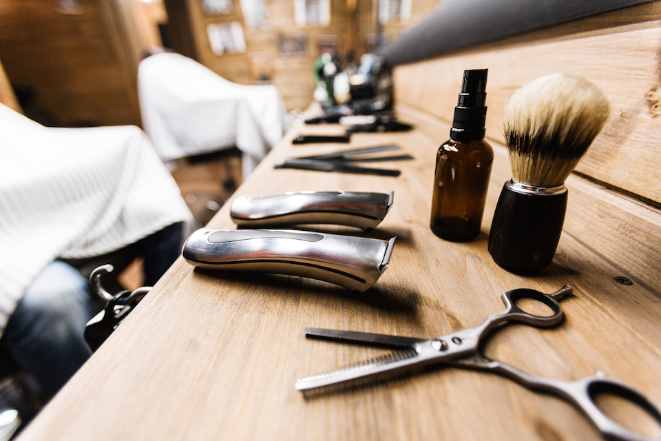 Shaving stuff on workplace of barber