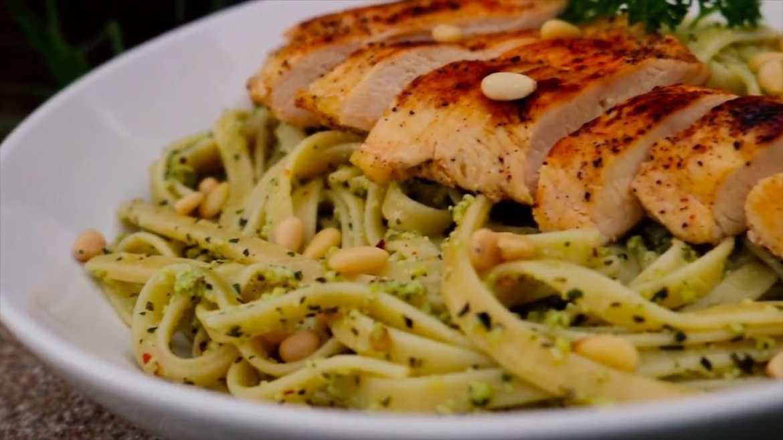 Pesto Fettucine with Grilled Chicken Recipe
