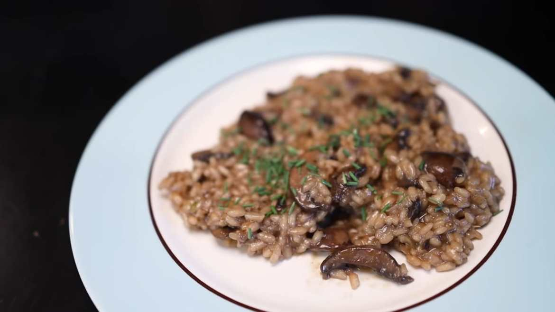 Mushroom risotto with homemade mushroom stock