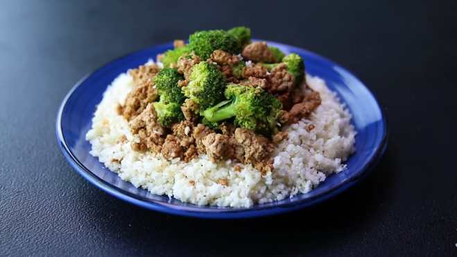 High protein beef cauliflower fried rice