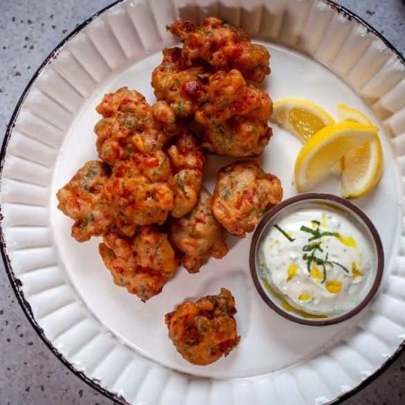 Greek Tomato Fritters with Minted Yoghurt