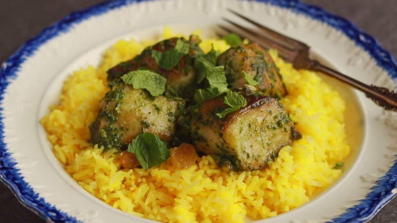 Mahi-mahi with Kale Pesto and Saffron Rice