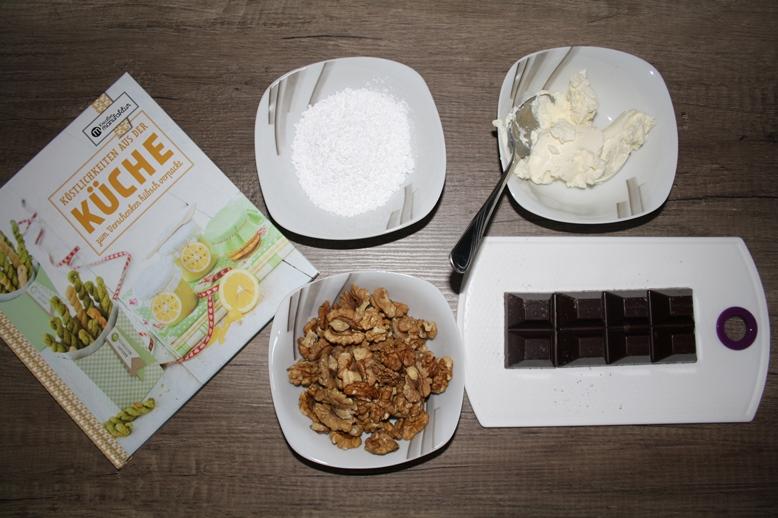 Zutatenübersicht Schoko-Nuss-Fudge