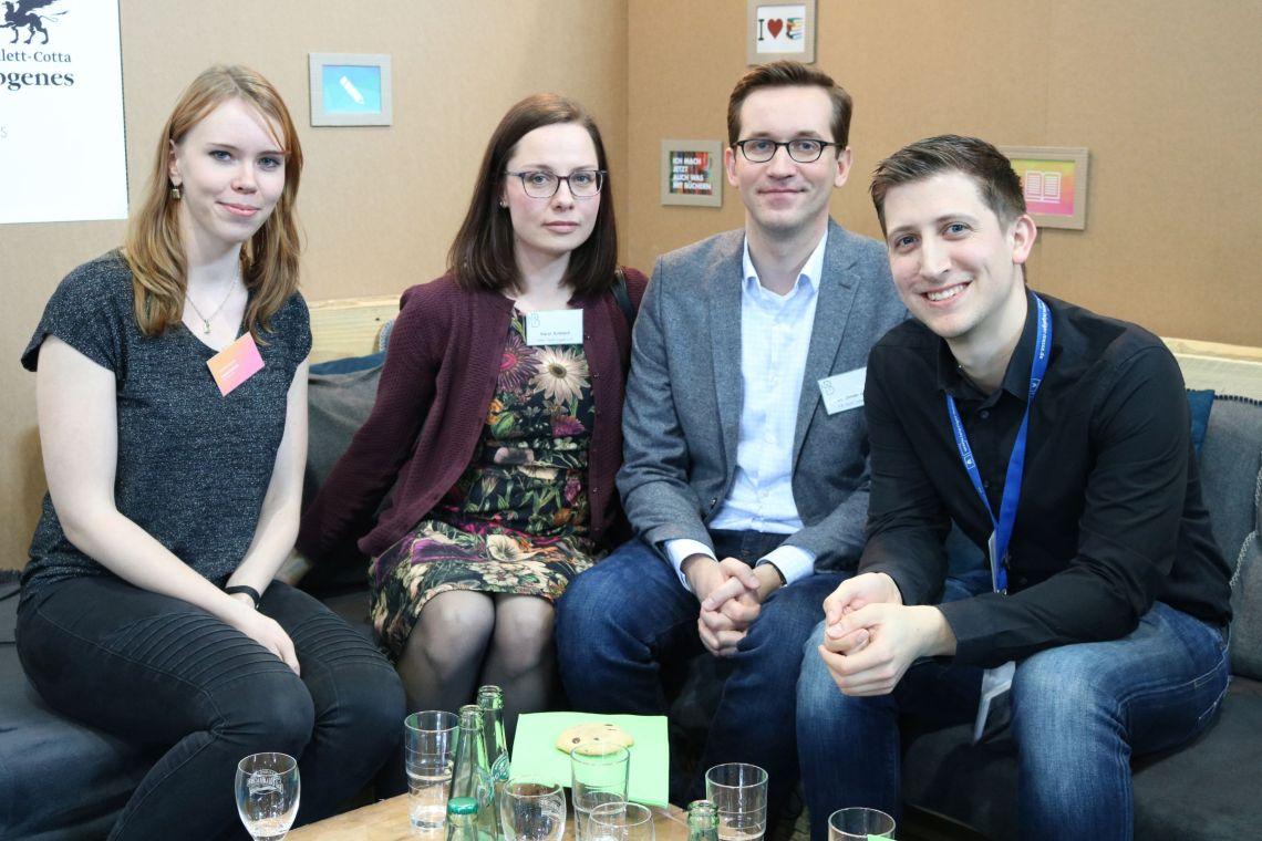 Alex Schöneck (munich bookster), Katrin Krietsch und Dr. Jonas Kahl (Spirit Legal LLP) und ich