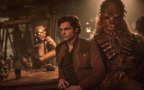 Alden Ehrenreich is Han Solo and Joonas Suotamo is Chewbacca in SOLO: A STAR WARS STORY. Copyright: 2017 Lucasfilm Ltd. & ™, All Rights Reserved.