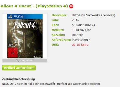 Fallout 4 für die PlayStation 4. Screenshot von Tauschticket