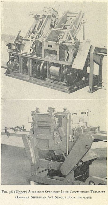 FIG. 36 (Upper) SHERIDAN STRAIGHT LINE CONTINUOUS TRINIMER. (Lower) SHERIDAN A-T SINGLE BOOK TRIMMER