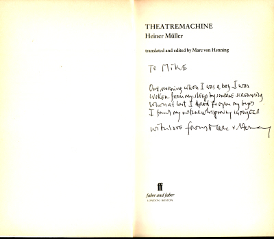 Theatremachine by Heiner Müller - translated & edited by Marc von Henning