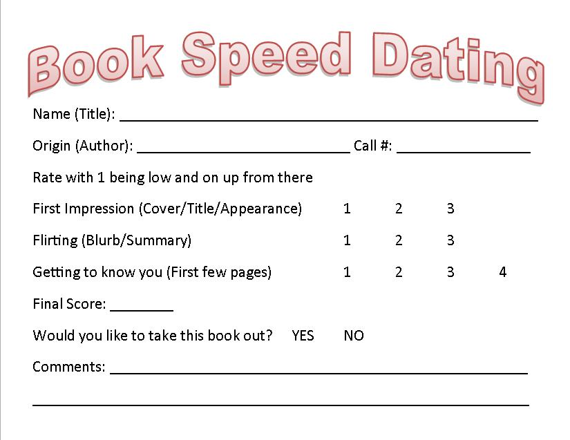 Book Speed Dating Your Library Booked For Life