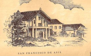 Print of Mission Dolores, The Tidings, Aug 25, 1944.