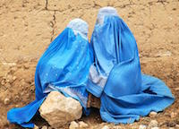 Women in blue burqa