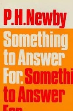 Front cover in orange with text  Something To Answer For by P H Newby, winner of the first Booker Prize