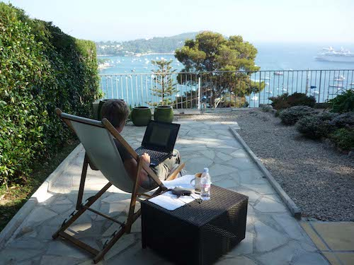 View over the harbour of Villefranche, Provence. A favourite holiday reading spot: