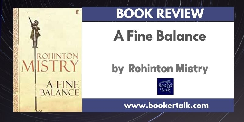 Cover of A Fine Balance by Rohinton Mistry which shows four characters trying to survive in India